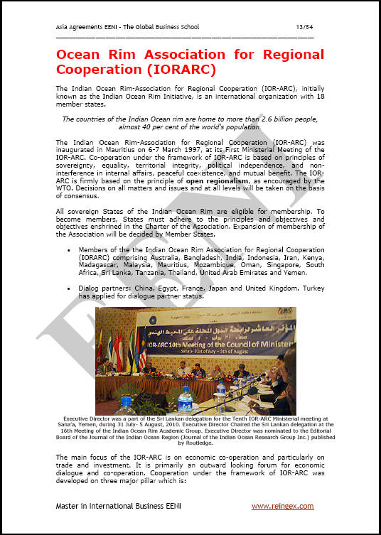Contoh Kursus Samudera Lingkar Asosiasi Kerjasama kedaerahan: